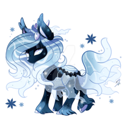 Size: 800x800 | Tagged: safe, artist:ipun, oc, deer, deer pony, original species, pond pony, deviantart watermark, ethereal mane, female, hoof fluff, obtrusive watermark, simple background, solo, starry mane, transparent background, watermark