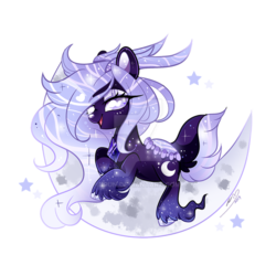 Size: 800x800 | Tagged: safe, artist:ipun, oc, oc:lavender prisma, deer, deer pony, original species, pond pony, crescent moon, deviantart watermark, ethereal mane, female, mare, moon, obtrusive watermark, simple background, solo, starry mane, tangible heavenly object, transparent background, watermark