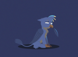 Size: 1666x1218 | Tagged: safe, alternate version, artist:gd_inuk, gallus, griffon, beak hold, blank eyes, blue background, chest fluff, cute, empty eyes, feather, lighting, lineless, lonely, male, no pupils, sad, sadorable, simple background, sitting, solo, stylized