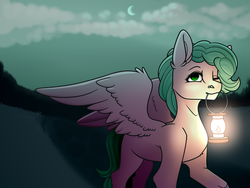 Size: 4724x3543 | Tagged: safe, artist:buvanybu, oc, oc only, oc:sabrosa, pegasus, pony, cloud, crescent moon, lantern, light, looking at you, moon, mouth hold, night, one eye closed, path, road, ych result