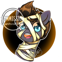 Size: 950x950 | Tagged: safe, artist:thanhvy15599, oc, oc only, oc:ragnar, pony, bust, commission, mummy, mummy costume, portrait, ych example, ych result, your character here