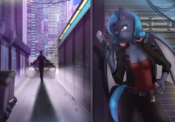 Size: 3000x2100 | Tagged: anthro, anthro oc, artist:mintjuice, bat pony, bat pony oc, bat wings, car, city, clothes, cyberpunk, cyborg, female, mare, night, oc, oc:shadow diamond, safe, street, weapon, wings, ych result