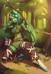 Size: 2000x2899 | Tagged: safe, artist:mintjuice, oc, oc:windy barebow evergreen, anthro, pegasus, action pose, anthro oc, archer, archery, arrow, bow (weapon), clothes, female, forest, hoof wraps, mare, pegasus oc, shooting, sitting, tree, weapon, ych result