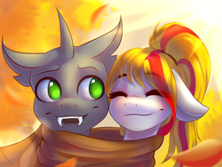 Size: 1600x1200 | Tagged: artist:falafeljake, autumn, bust, changeling, changeling oc, clothes, cute, eyes closed, fangs, oc, pony, safe, scarf, shared clothing, shared scarf, smiling, source needed