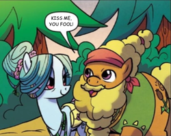 Size: 616x490 | Tagged: safe, edit, idw, cattail, ms. vine, pony, spoiler:comic, spoiler:comic58, cattails, catvine, crack shipping, cropped, female, kiss me you fool, male, shipping, straight