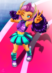 Size: 1522x2152 | Tagged: 2 4 6 greaaat, alternate version, anime style, armpits, artist:mauroz, cheerleader, clothes, converse, cute, equestria girls, equestria girls-ified, female, leg warmers, midriff, miniskirt, one eye closed, pleated skirt, pom pom, safe, shoes, silhouette, skirt, smolder, smolderbetes, sneakers, solo, spoiler:s09e15, wink