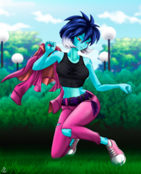 Size: 1746x2152 | Tagged: alternate version, artist:mauroz, belly button, clothes, converse, equestria girls, equestria girls-ified, female, hoodie, human, humanized, jacket, leather jacket, midriff, pants, princess ember, safe, shoes, sneakers, spike, sports bra, tanktop