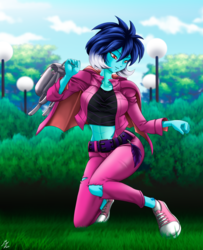 Size: 1746x2152 | Tagged: alternate version, artist:mauroz, belly button, clothes, converse, equestria girls, equestria girls-ified, female, hoodie, human, jacket, leather jacket, midriff, pants, princess ember, safe, shoes, sneakers, spike, sports bra, tanktop