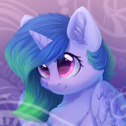 Size: 2048x2048 | Tagged: alicorn, artist:alphadesu, chest fluff, cute, cutelestia, ear fluff, pony, princess celestia, safe, smiling, solo, ych result