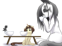 Size: 1600x1200 | Tagged: safe, artist:causticeichor, oc, oc only, oc:elinvar, oc:inkenel, oc:oretha, earth pony, pony, unicorn, cup, drinking, female, food, giant pony, larger female, macro, male, micro, scared, simple background, size difference, smaller male, table, tea, teacup
