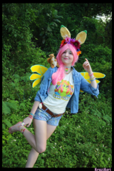 Size: 3456x5184 | Tagged: absurd file size, absurd resolution, artist:krazykari, clothes, cosplay, costume, fluttershy, human, irl, irl human, pegasus, photo, pony ears, safe, shirt, shorts, solo