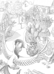 Size: 3000x4125 | Tagged: safe, artist:fynjy-87, blossomforth, cloud kicker, pinkie pie, rainbow dash, earth pony, pegasus, pony, fanfic:the life and times of a winning pony, background pony, balloon, black and white, bushy brows, commission, cute, diapinkes, fanfic art, featured image, female, floating, flying, grayscale, hiding, high res, hoof hold, illustration, mare, monochrome, open mouth, peeking, ponyville, raised hoof, smiling, spread wings, sugarcube corner, sweet dreams fuel, then watch her balloons lift her up to the sky, wings
