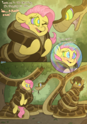 Size: 3500x5000 | Tagged: safe, artist:fluffyxai, fluttershy, oc, oc:spirit wind, earth pony, pegasus, pony, snake, coils, comic, dialogue, disney, drool, female, food chain, hypnotized, imminent hypnosis, imminent vore, kaa, kaa eyes, male, mare, mind control, one eye closed, predator, prey, smiling, stallion, story included, swirly eyes, the jungle book, this will end in death