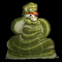 Size: 6000x6000   Tagged: safe, artist:fluffyxai, oc, oc only, oc:mylissa, oc:twinwing, lamia, original species, pegasus, snake, snake pony, coils, cuddling, hypnosis, hypnotized, monster mare