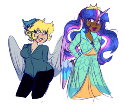 Size: 1280x1069 | Tagged: safe, artist:cubbybatdoodles, derpy hooves, ditzy doo, twilight sparkle, alicorn, human, pegasus, the last problem, alicorn humanization, breasts, colored wings, colored wingtips, dark skin, delicious flat chest, female, horn, horned humanization, humanized, lesbian, princess twilight 2.0, shipping, simple background, transparent background, twerpy, twilight sparkle (alicorn), winged humanization, wings