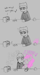 Size: 1143x2126 | Tagged: safe, artist:owlnon, pinkie pie, oc, oc:anon, earth pony, pony, semi-anthro, /mlp/, 4chan, ashtray, bags under eyes, beanie, boombox, cigarette, clothes, comic, dialogue, doomer, hat, hoodie, music notes, partial color, question mark, scrunch, smiling, soda can