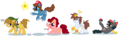 Size: 2456x712 | Tagged: safe, artist:lieutenantkyohei, earth pony, pegasus, pony, ash ketchum, kid icarus, kirby, kirby (character), link, mario, pit (kid icarus), pokémon, ponified, super mario bros., super smash bros., the legend of zelda