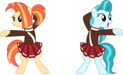Size: 4897x3000 | Tagged: safe, artist:cloudyglow, lighthoof, shimmy shake, earth pony, pony, 2 4 6 greaaat, .ai available, bedroom eyes, bipedal, clothes, dab, duo, female, mare, open mouth, raised hoof, simple background, skirt, sweater, transparent background, vector