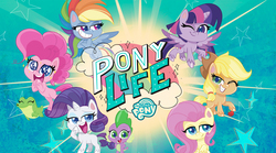 Size: 2400x1334   Tagged: safe, screencap, applejack, fluttershy, gummy, pinkie pie, rainbow dash, rarity, spike, twilight sparkle, alicorn, alligator, dragon, earth pony, pegasus, pony, unicorn, my little pony: pony life, official, pony life, adventure in the comments, applejack's hat, cowboy hat, duckery in the comments, female, hat, looking at you, male, mane six, mare, missing cutie mark, pony history, straw in mouth, text, twilight sparkle (alicorn)