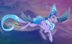 Size: 1400x857 | Tagged: artist:sunny way, event, feather, fluffy, flying, mountain, oc, oc:empyrea, pegasus, pony, safe, smiling, solo, spread wings, wings