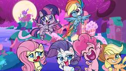 Size: 2400x1350 | Tagged: safe, screencap, applejack, fluttershy, pinkie pie, rainbow dash, rarity, spike, twilight sparkle, alicorn, earth pony, pegasus, pony, unicorn, my little pony: pony life, official, pony life, alternate cutie mark, backwards cutie mark, caption, eyes closed, female, looking at you, mane six, mare, one eye closed, photo, pony history, rainbow trail, sugar packet place, twilight sparkle (alicorn), wink