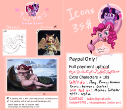 Size: 8000x7000 | Tagged: absurd resolution, advertisement, anthro, artist:misstwipietwins, commission, commission info, icon, pony, price list, price sheet, safe