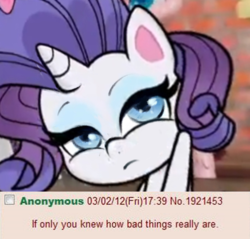 Size: 523x499 | Tagged: 4chan, edit, if only you knew how bad things really are, my little pony: pony life, pony life drama, rarity, reaction image, safe, solo, upset