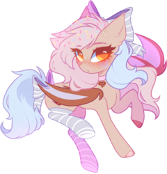 Size: 875x913 | Tagged: safe, artist:kirionek, derpibooru exclusive, oc, oc only, oc:amaretti, bat pony, pony, bat pony oc, blushing, bow, clothes, collar, cute, female, freckles, hair bow, looking at you, mare, simple background, socks, striped socks, tail bow, transparent background
