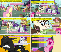 Size: 998x852 | Tagged: artist:dziadek1990, artist:newbiespud, bon bon, bucktooth, carrot top, changeling, cherry berry, comic, comic:friendship is dragons, diplomacy, dungeons and dragons, edit, edited screencap, fluttershy, gizmo, glasses, golden harvest, guest comic, lyra heartstrings, market, marketplace, pen and paper rpg, pinkie pie, putting your hoof down, rarity, rpg, safe, screencap, screencap comic, sweetie drops, tabletop game