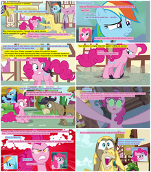 Size: 986x1123 | Tagged: safe, artist:dziadek1990, artist:newbiespud, screencap, cranky doodle donkey, pinkie pie, rainbow dash, comic:friendship is dragons, a friend in deed, bridle gossip, the last roundup, batter, cake batter, collaboration, comic, dungeons and dragons, guest comic, necromancer, party cannon, pen and paper rpg, rpg, screencap comic, tabletop game, toupee, wig, wing hands, wings