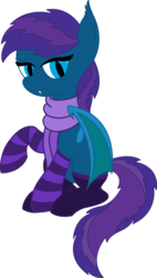 Size: 3187x5592 | Tagged: safe, artist:cosmiceclipsed, derpibooru exclusive, oc, oc only, oc:stardust, oc:stardust rose, oc:stardust(cosmiceclipse), bat pony, pony, bat pony oc, bat wings, clothes, ear fluff, fangs, female, mare, membranous wings, rule 63, scarf, simple background, slit eyes, slit pupils, socks, solo, striped socks, transparent background, wings