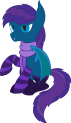 Size: 3188x5500 | Tagged: safe, artist:cosmiceclipsed, derpibooru exclusive, oc, oc only, oc:stardust, oc:stardust(cosmiceclipse), bat pony, pony, bat pony oc, bat wings, clothes, ear fluff, fangs, male, membranous wings, scarf, simple background, slit eyes, slit pupils, socks, solo, stallion, striped socks, transparent background, wings