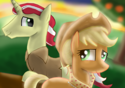 Size: 6512x4608 | Tagged: applejack, applejack's hat, apple orchard, artist:mr100dragon100, clothes, cowboy hat, derail in the comments, earth pony, faded background, female, flim, flimjack, granny smith's scarf, graveyard of comments, hair bun, hat, headcanon in the description, male, older applejack, orchard, safe, shipping, spoiler:s09e26, straight, sunset, the last problem, unicorn