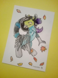 Size: 957x1271 | Tagged: artist:hirundoarvensis, art trade, autumn, cat tail, griffon, leaves, oc, oc:lempi, ponified, safe, solo, talons, traditional art, watercolor painting, wings, wings on hips
