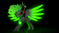 Size: 3840x2160 | Tagged: safe, artist:phoenixtm, oc, oc:phoenix timberdash, cyborg, dracony, dragon, hybrid, original species, pony, 3d, angry, battle stance, dracony alicorn, energy weapon, ethereal mane, spread wings, timber dracony, unity (game engine), weapon, wings