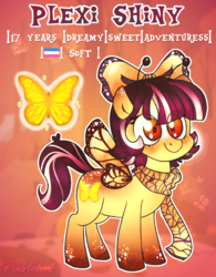 Size: 1308x1680 | Tagged: artist:yojohcookie, butterfly, cute, earth pony, female, filly, oc, pegasus, pony, safe, short, shorthair, soft, solo, specie, yellow