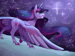 Size: 2000x1500 | Tagged: alicorn, artist:uunicornicc, digital art, female, mare, night, night sky, pony, safe, sky, solo, starry night, stars, twilight sparkle, twilight sparkle (alicorn)