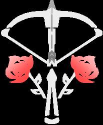 Size: 1505x1823 | Tagged: safe, artist:veen, oc, oc only, oc:vuren sundown, arrow, crossbow, cutie mark, cutie mark only, flower, no pony, rose, simple background, sundown clan, transparent background, vector, weapon