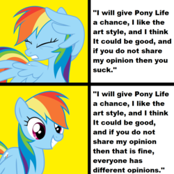 Size: 1024x1024 | Tagged: safe, rainbow dash, pegasus, pony, my little pony: pony life, covering, drake, eyes closed, female, gritted teeth, hotline bling, mare, meme, mouthpiece, op has a point, opinion, smiling, solo, text, wing covering