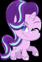 Size: 1217x1794 | Tagged: safe, artist:stellardusk, starlight glimmer, pony, unicorn, my little pony: pony life, chibi, cute, female, glimmerbetes, mare, one eye closed, simple background, smiling, solo, transparent background, unshorn fetlocks, wink