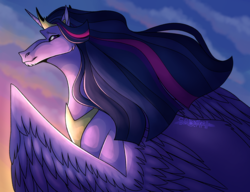 Size: 2935x2253 | Tagged: alicorn, artist:tenta-noodle, crown, hoers, jewelry, large wings, long mane, looking at you, older, older twilight, peytral, pony, princess twilight 2.0, regalia, safe, smiling, solo, spoiler:s09e26, the last problem, twilight sparkle, twilight sparkle (alicorn), unicorn, wings