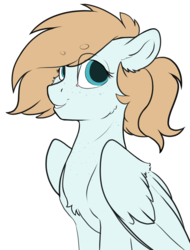 Size: 2656x3500 | Tagged: artist:cold blight, bean brows, female, floppy ears, oc, oc:cold blight, oc only, pegasus, safe, simply background, smiling, solo, wings