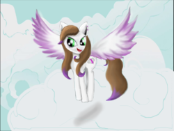 Size: 1600x1200 | Tagged: artist:auroraswirls, cloud, female, mare, oc, oc only, oc:sky feather, on a cloud, open mouth, pegasus, pony, safe, smiling, solo, spread wings, wings