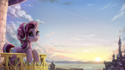 Size: 2560x1440 | Tagged: useless source url, safe, artist:inowiseei, edit, starlight glimmer, pony, unicorn, canterlot, canterlot castle, female, mare, smiling, solo, sun, sunset