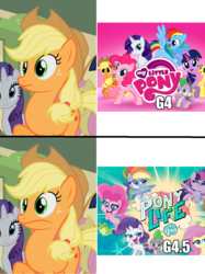 Size: 944x1260 | Tagged: safe, edit, edited screencap, screencap, applejack, fluttershy, pinkie pie, rarity, twilight sparkle, alicorn, earth pony, pegasus, pony, unicorn, my little pony: pony life, over a barrel, season 1, applejack's hat, background pony, cowboy hat, cropped, cutie mark, do not want, faic, female, freckles, frown, hat, logo, mare, meme, offscreen character, pony life drama, raised hoof, reaction image, smiling, solo focus, stetson, surprised, twilight sparkle (alicorn), unicorn twilight, want, wide eyes