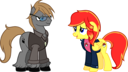 Size: 2000x1125 | Tagged: artist:theeditormlp, clothes, female, floppy ears, jacket, male, mare, oc, oc:jessica pedley, oc:the editor, pegasus, pony, safe, shirt, stallion, vest