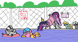 Size: 2013x1091   Tagged: safe, artist:jargon scott, luster dawn, twilight sparkle, oc, oc:zizzie, alicorn, pony, unicorn, zebra, the last problem, angry, floaty, lustie, older, older twilight, princess twilight 2.0, sneak 100, stuck, subtle as a train wreck, swimming pool, the ass is monstrously oversized for tight entrance, twibutt, twiggie, twiggie 2.0, twilight has a big ass, twilight sparkle (alicorn), water slide, water wings