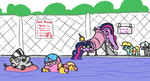 Size: 2013x1091 | Tagged: alicorn, artist:jargon scott, floaty, luster dawn, lustie, oc, oc:zizzie, older, older twilight, princess twilight 2.0, safe, sneak 100, spoiler:s09e26, stuck, subtle as a train wreck, swimming pool, twibutt, twiggie, twiggie 2.0, twilight sparkle, twilight sparkle (alicorn), unicorn, water slide, water wings, zebra
