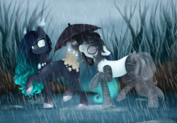 Size: 1352x942 | Tagged: artist:shady-bush, female, mare, mouth hold, oc, oc:blind ink, oc only, oc:upcoming rain, original species, pony, rin, safe, scented pony, umbrella, waterwalker