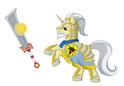 Size: 4485x3115 | Tagged: safe, artist:vistamage, pony, unicorn, armor, ashbringer, beard, facial hair, ponified, simple background, sword, tirion fordring, transparent background, warcraft, weapon